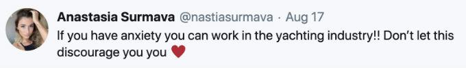 Anastasia Tweets about mental health.