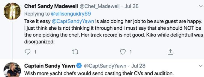 Captain Sandy Tweet about superyacht chefs.