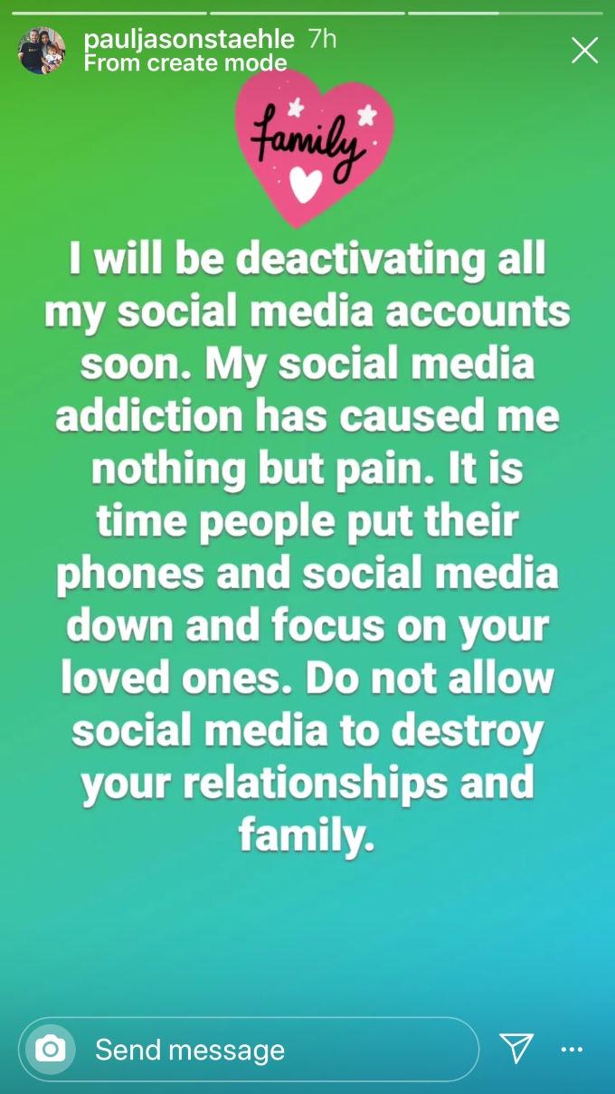 Paul shares regrets on Instagram