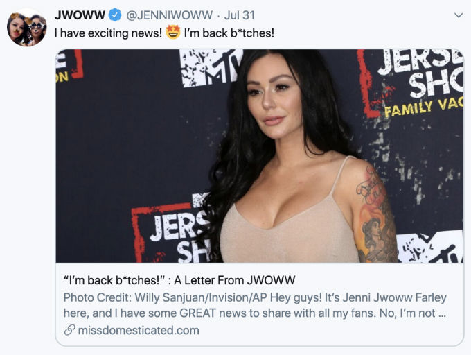JWoww is back on Jersey Shore Family Vacation.