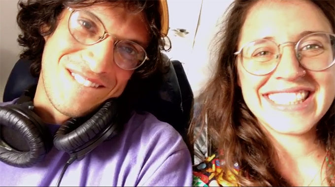 MAFS couple Amelia and Bennett taking a selfie on airplane, smiling