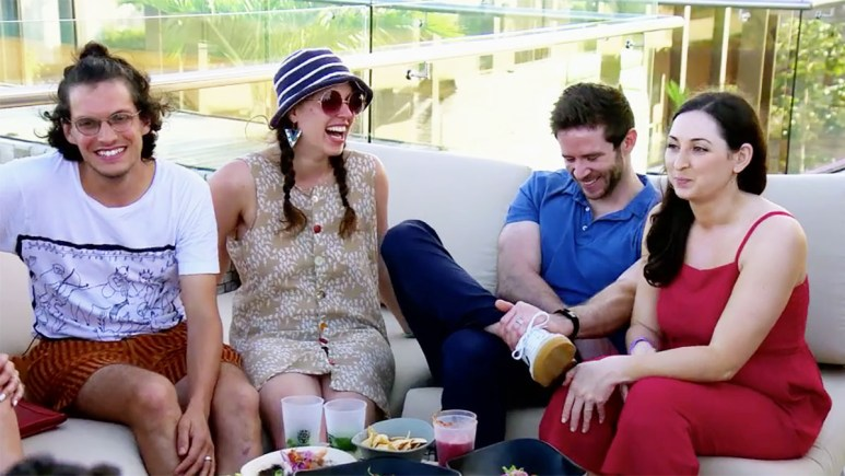 Married at First Sight Season 11 couples Amelia and Bennett and Olivia and Brett laughing on honeymoon