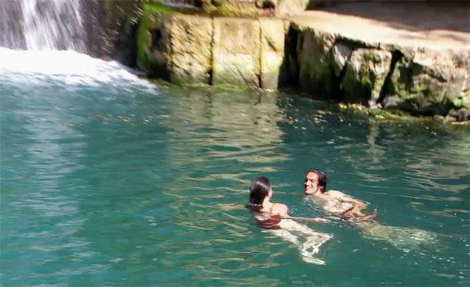 MAFS Season 11 couple Bennett and Amelia swimming together
