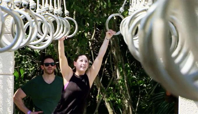 MAFS Season 11 couple Brett and Olivia doing monkeybars