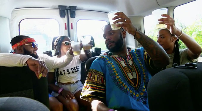MAFS Season 11 couples Woody and Amani and Miles and Karen toasting on a bus