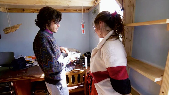 MAFS Season 11 couple Amelia and Bennett exploring Bennett's tiny house
