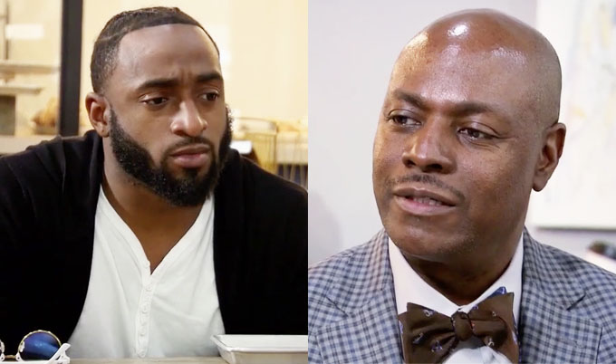 Married at First Sight Woody looking down while Amani's dad looks disappointed
