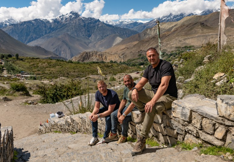 Freddie Flintoff, Chris Harris and Paddy McGuinness in Nepal