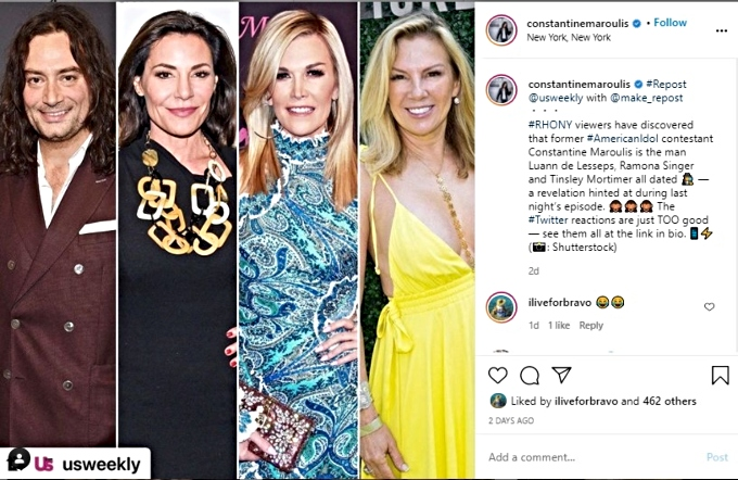 Contantine reposts article about him dating the RHONY ladies