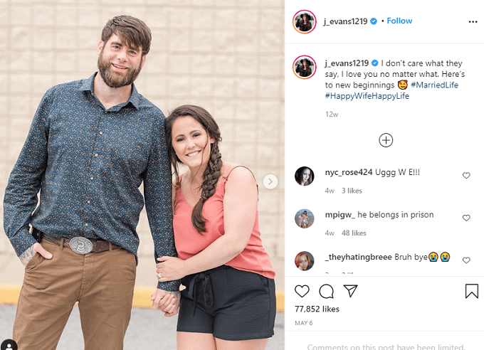 Jenelle Evans posing with husband David Eason