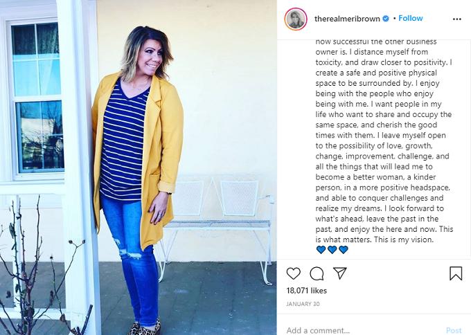 Meri Brown Instagram post