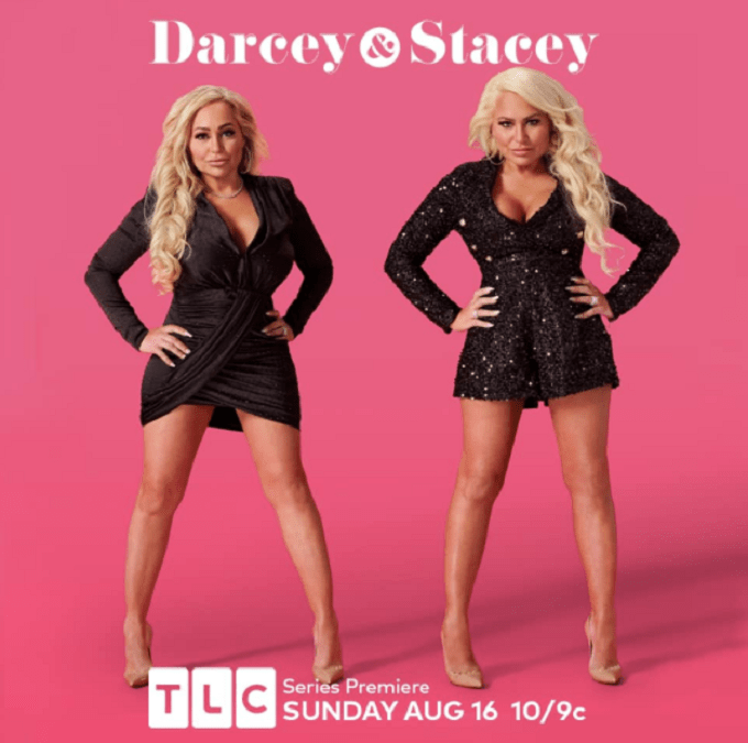 Darcey and Stacey in black dresses for promo shot