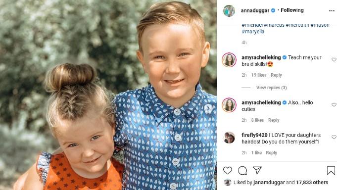 Anna Duggar's children Meredith and Marcus.