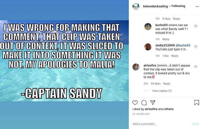 Captain Sandy sends apology message to Malia after calling her secretly gay.