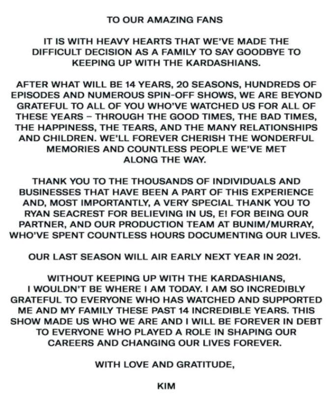 Kim Kardashian announced the end of KUWTK.