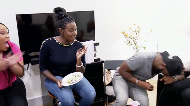 MAFS Season 11 couple Woody and Amani laughing with friends