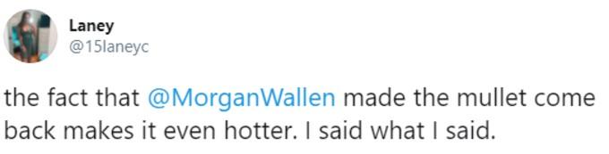 A fan praises Wallen's mullet