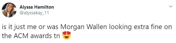 Fan tweets about how fine Wallen looks