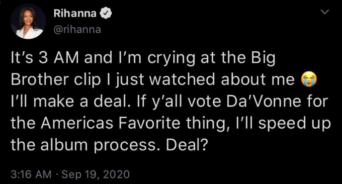 Rihanna Tweet