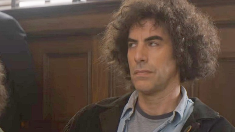 Sacha Baron Cohen plays Abbie Hoffman in Netflix's The Trial of the Chicago 7. Pic credit: Netflix