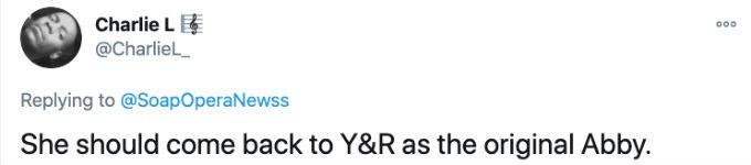 Y&R fan wants Emme Rylan back as Abby Newman