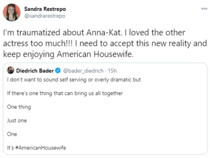 Fan tweets displeasure over American Housewife Anna-Kat change