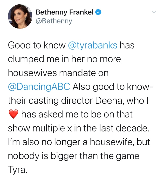 Bethenny slams Tyra Banks on Twitter for not wanting to cast Bravo housewives