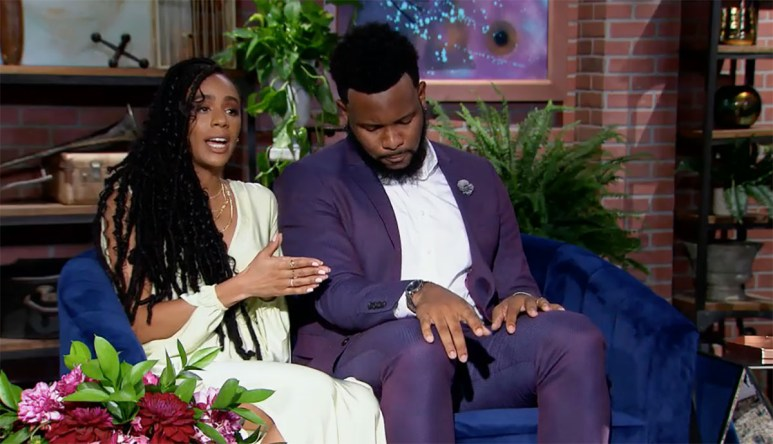 MAFS Miles and Karen sitting on reunion couch