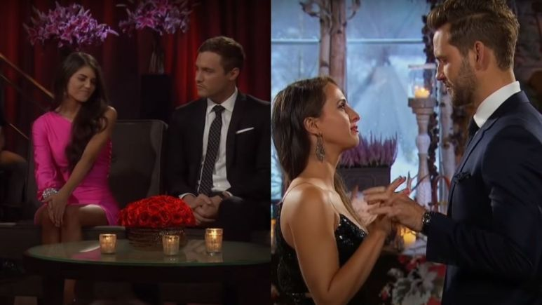 Madison Prewett and Peter Weber on the After the Final Rose couch next to Vanessa Grimaldi and Nick Viall getting engaged