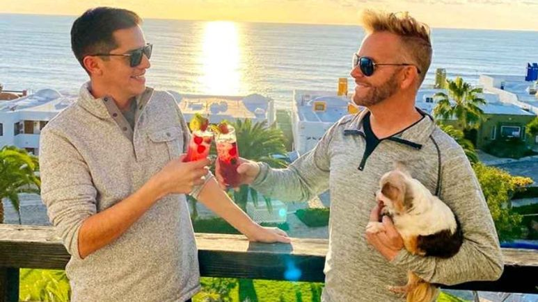 Kenneth and Armando, who got engaged on 90 Day Fiance: The Other Way, share a toast Pic. credit: TLC