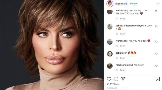 Lisa Rinna models her new beauty line Rinna Beauty.
