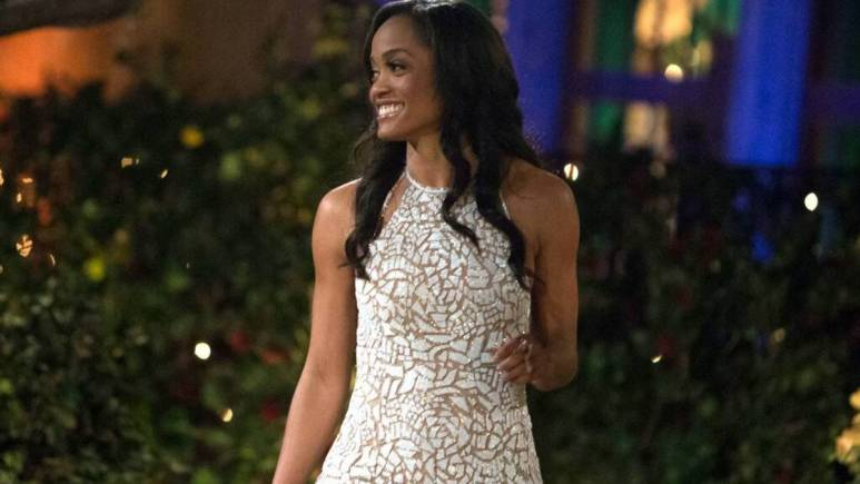 Rachel Lindsay stands in front of the Bachelor mansion.