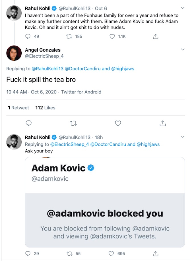 Rahul Kohli's tweet about Adam Kovic