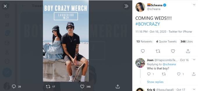 Scheana Shay and Max Boyens pose sporting BOY CRAZY beanies.