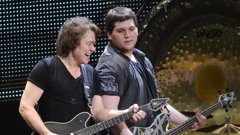Eddie and Wolfgang Van Halen perform on stage