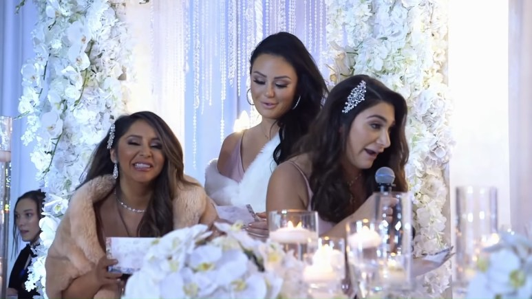 Jenni Farley, Nicole Polozzi and Deena Cortese at Angelina Pivarnick's wedding