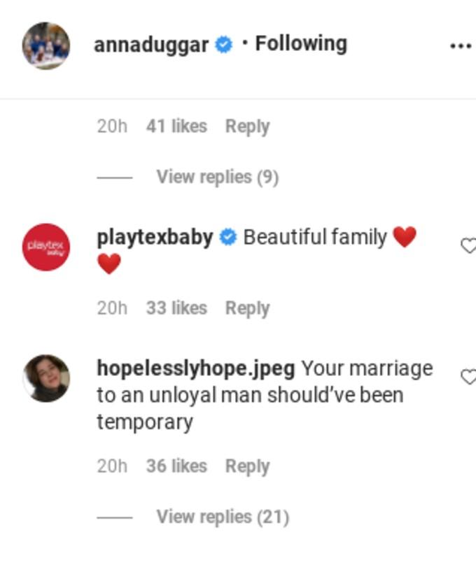 Comment on Anna Duggar's Instagram.