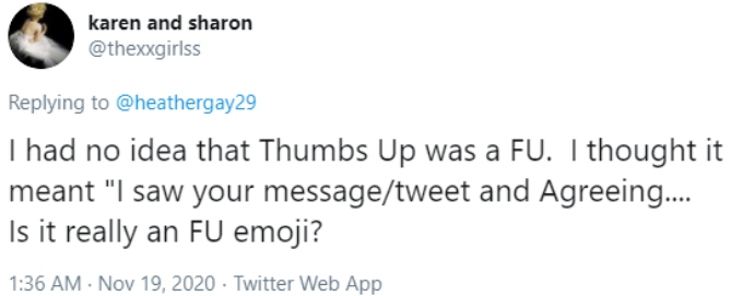A fan responds to Heather gay's tweet surprised about the meaning of a thumbs up emoji