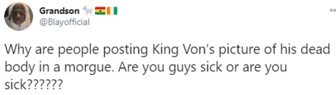 King Von fan asks if people are sick