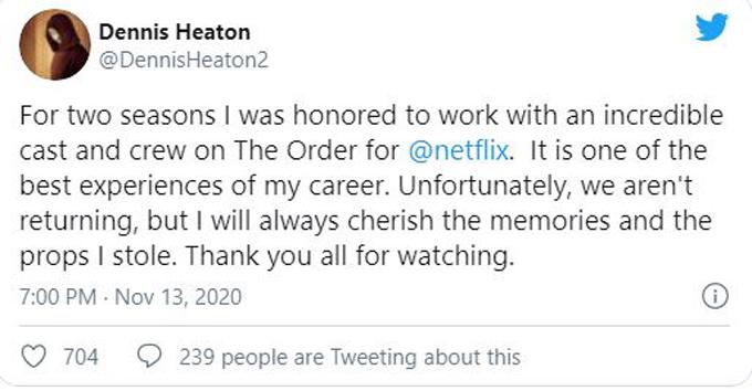 The Order tweet