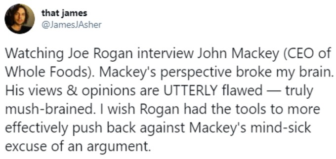 Tweeter criticising Mackey