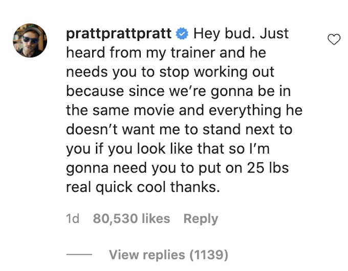 chris pratt comments on hemsworth ig post