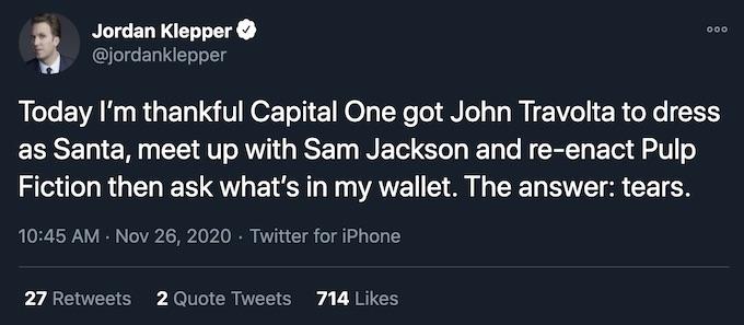 jordan klepper tweet travolta cap one ad