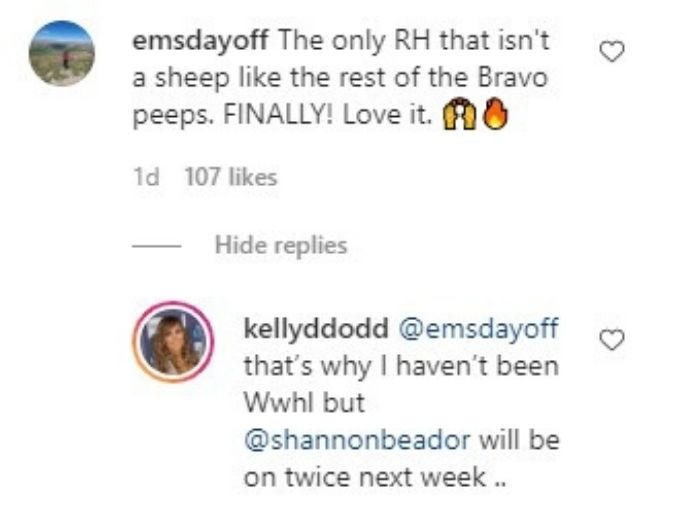 Comment on Kelly Dodd's Instagram post where follower claims Kelly isn't a sheep like the other RHOC cast members.