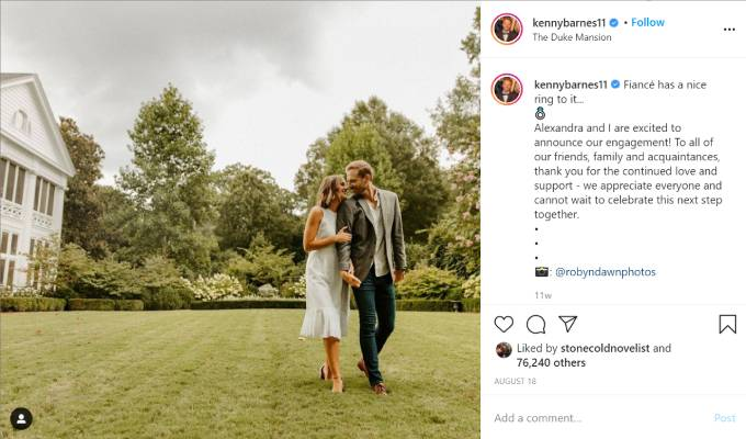 Kenny Barnes poses with his fiance, Alexandra..