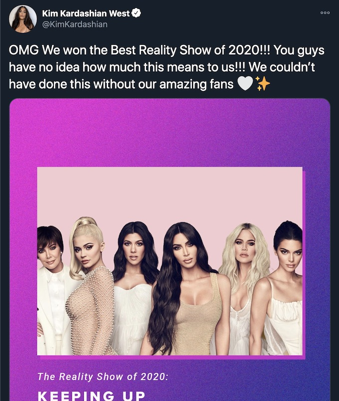 kim k reacts to khloe and kuwtk pca 2020 wins