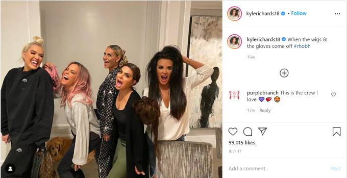 Kyle Richards poses with Erika Jayne, Lisa Rinna, Teddi Mellencamp and Dorit Kemsley.