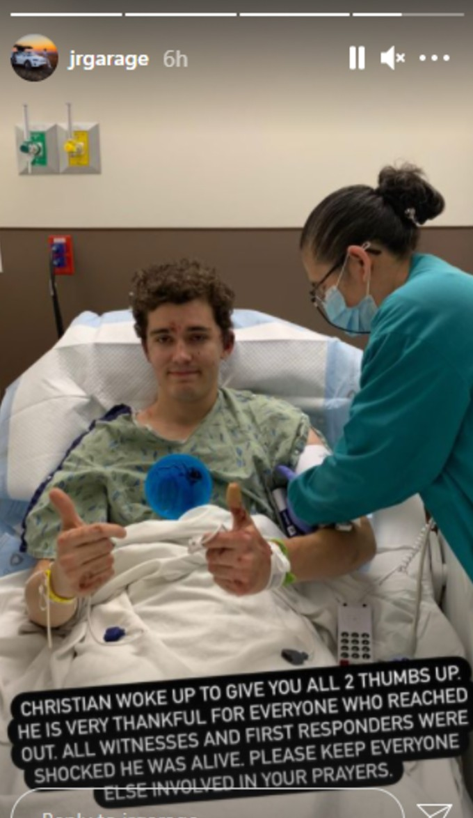 Christian of JR Garage gives the thumbs up from hospital