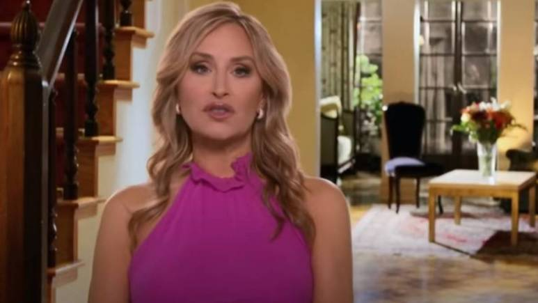Sonja Morgan films a confessional interview for RHONY.