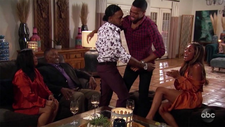 The Bachelorette's Ivan greeting his brother Gabriel on hometown date